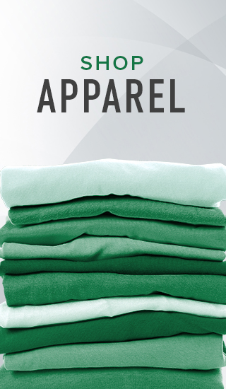 Picture of stack of shirts. Click to shop Apparel.
